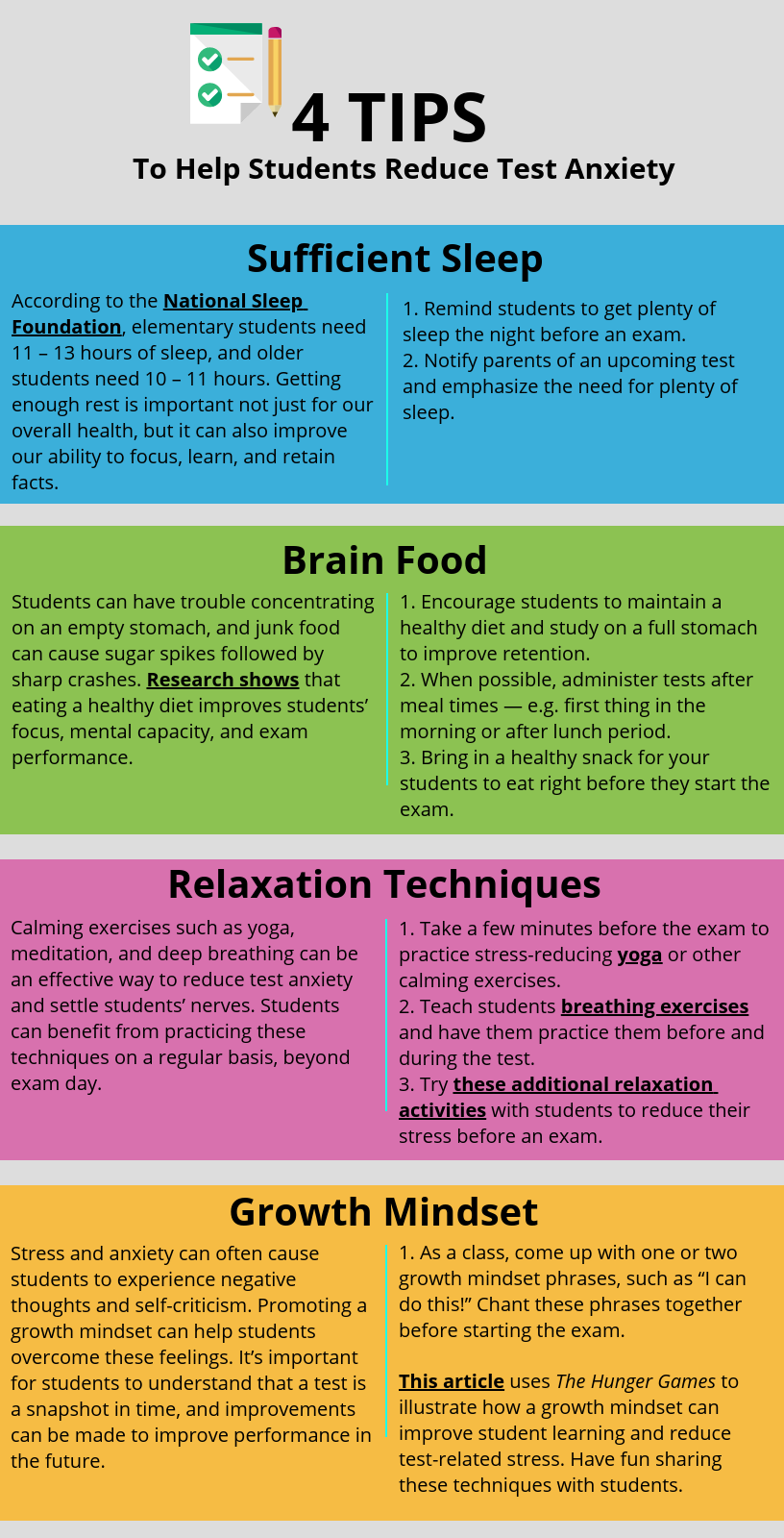 the methods to reduce test anxiety in students The palming method the palming method is a visualization procedure used to reduce test anxiety while sitting at your desk before or during a test students who have test anxiety are prone to negative self talk test anxiety can be generated or heightened by repeatedly making statements to.